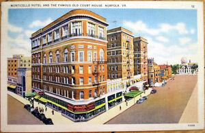 Image Is Loading 1939 Norfolk Va Linen Postcard Monticello Hotel Amp