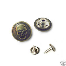 10 sets NO-SEW jeans tack Buttons  Skull metal 22 mm  Swivel Type Antique gold