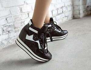 46b2068f6cc2 Women Sequins Lace Up High Top Sport Shoes Platform Creepers Ankle ...