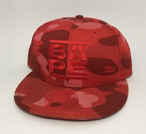 63d41743499 2006 A Bathing Ape Red Camo New Era Fitted Hat Run DMC Logo Size 7 1 ...