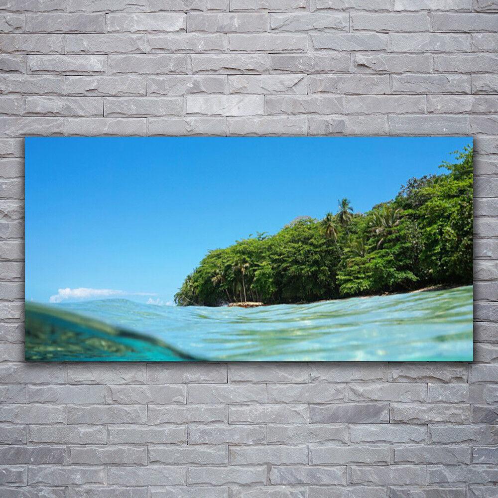 Wandbilder Glasbilder Druck auf Glas 120x60 Meer Bäume Landschaft