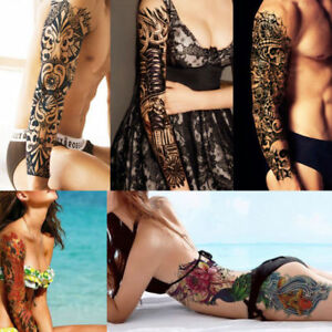 UK-Large-Full-Arm-Sleeve-Temporary-Tattoo-Stencil-Sticker-Body-Art-3D-Waterproof