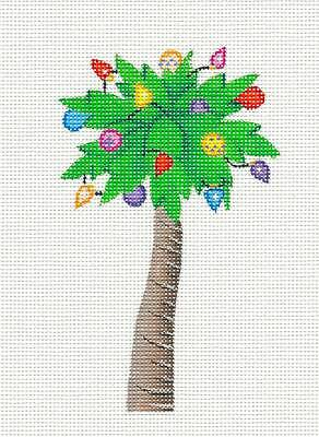ACOD Christmas PALM TREE with Holiday Lights Handpainted HP Needlepoint Canvas