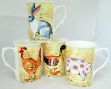 Farm Animals Mugs Set of 4 Fine Bone China Mugs Hand Decorated in the UK