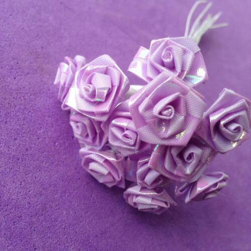 Wedding Craft Job Lot Scrapbook Lilac Iridescent Ribbon Roses Embellishments