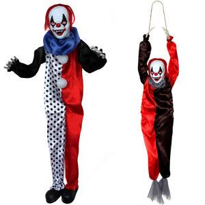 Lot-de-deux-clowns-Halloween-Prop-Sound-Activated-Hanging-Effrayant-Party-Decoration