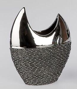 Deco-Moderne-Vase-Vase-a-fleurs-noir-corde-en-ceramique-noir-hauteur-30-cm