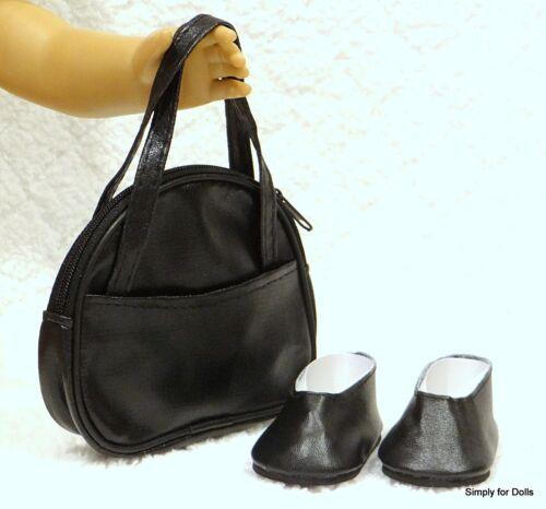 "**SALE** 2pc BLACK DOLL SHOES /& Handbag PURSE SET fits 18/"" AMERICAN GIRL DOLL"