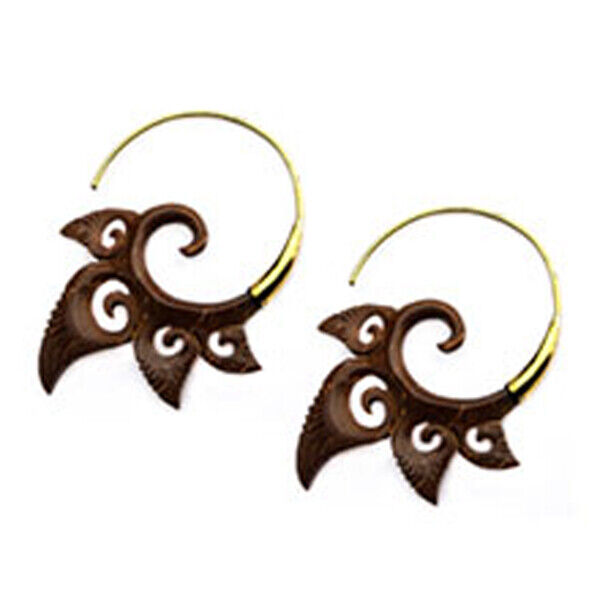 Steampunk Carved Coconut Shell on Large Brass Hoop Earrings 2  (5cm) drop