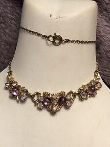 1950s-Bib-Necklace-Glass-Amethyst-Aurora-Borealis-Crystal-Vintage-Retro-Metal
