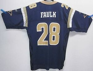 4d1bfd94 Details about REEBOK MARSHALL FAULK #28 BLUE & GOLD ON FIELD JERSEY MEN'S  (M) ST. LOUIS RAMS