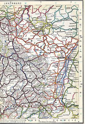 Metz Colmar Strasbourg 1925 Orig. Eisenbahn-atlaskarte Saargeb. Belfort Mulhouse Knitterfestigkeit