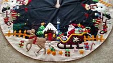 "60"" Hand made Wool Flannel Felt Bead Santa Reindeer Snowman CHRISTMAS TREE SKIRT"