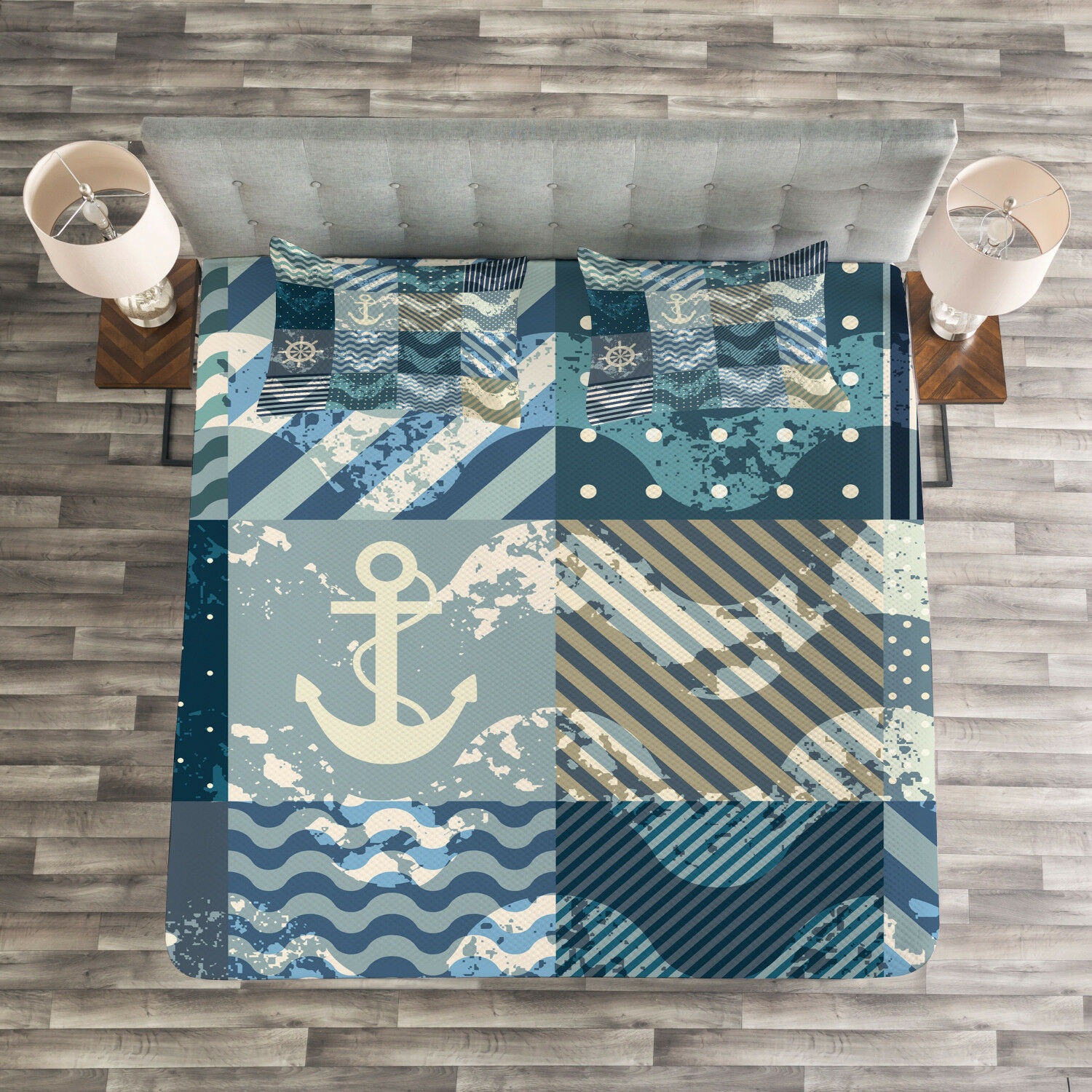 Nautical Quilted Bedspread & Pillow Shams Set, Anchor Grunge Naval Print