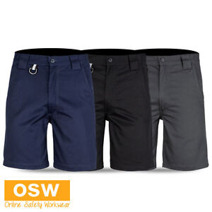 MENS-TRADIES-BUILDER-COTTON-TWILL-WORK-UTILITY-SHORTS-BLACK-CHARCOAL-NAVY