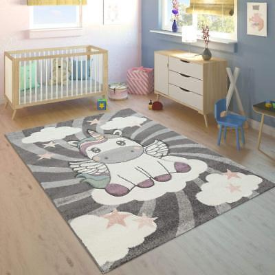 Unicorn Bedroom Rug Girls Room Grey White Kids Play Carpet Childrens Star  Mats | eBay