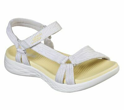 Skechers ON-THE-GO 600 ARTISTE Womens Gray//Yellow Hook /& Loop Closure Shoes