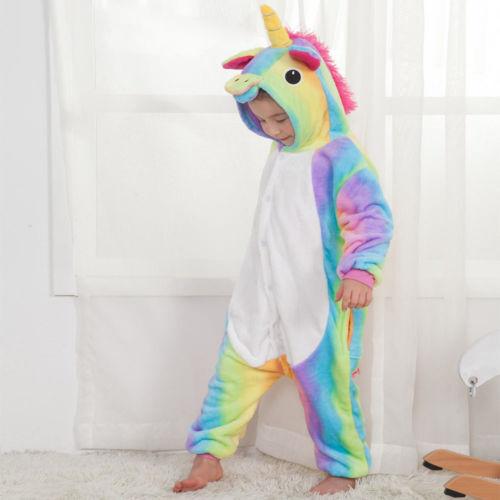 Kids Boy Girl Pajamas Sleepwear Rainbow Unicorn Kigurumi Animal Cosplay Costume