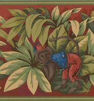 Monkeys In The Jungle On Red Wallpaper Border B742203