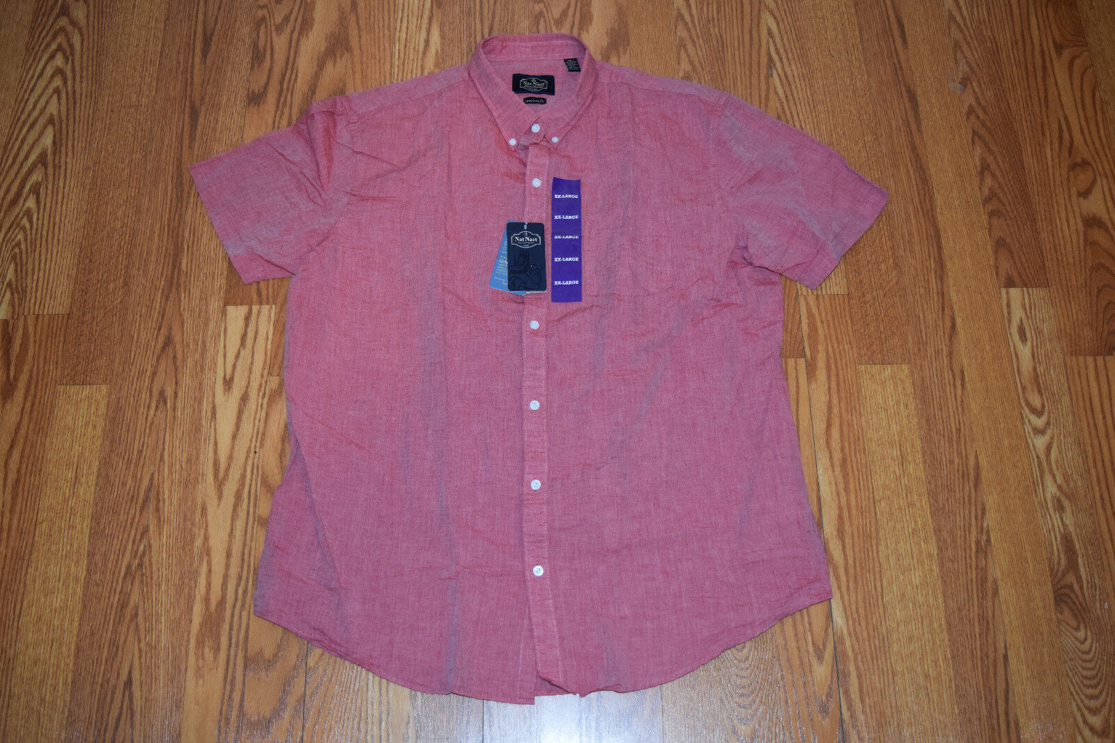 NWT Mens NAT NAST American Fit Linen SS Button Up Shirt Heathered Red 2XL