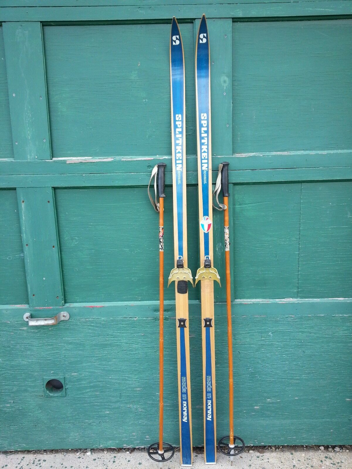 A Very Interesting Vintage Wooden 70  Long Skis Blau Finish Signed SPLITKEIN