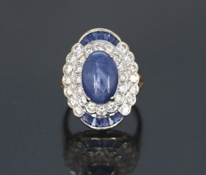 8-500-14K-Yellow-Gold-Oval-Blue-Cabochon-Sapphire-Diamond-Cocktail-Ring-Band