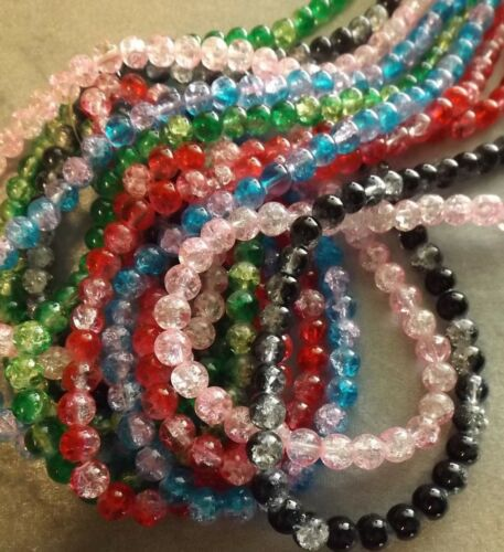 ROUND CRACKLE GLASS BEADS 8 MM 30 INCH STRANDS FIVE COLORS FIVE STRANDS