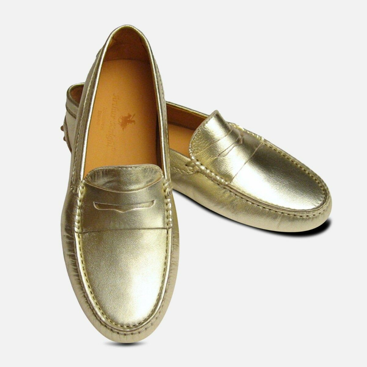 Or Métallique Cuir Arthur chevalier Femme Driving chaussures