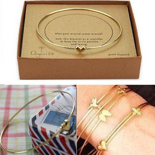 Womens Cute Gold Heart Charm Bead Bangle Bracelet Fashion S Jewelry Gift New