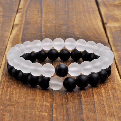 Manchette Unisexe 2pcs 8 mm dépoli blanc et noir agate bracelet spiritualité