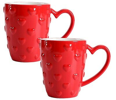 2 Set Valentine/'s Day Embossed Hearts Coffee Cocoa Mug Celebrate Anniversary Red