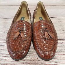 "BALLY Sz 43 1/2 U.S. 10 ""Grenada"" Brown Leather Basket Weave Tassel Loafer Shoes"