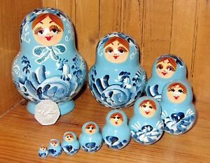Russian-Nesting-doll-Matryoshka-Birds-Hand-Painted-10-SKY-BLUE-Nikitina-signed