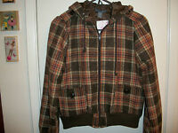 Womens Poetry By Cutesy Girl Poly Wool Brown Multi Plaid Hooded Jacket L