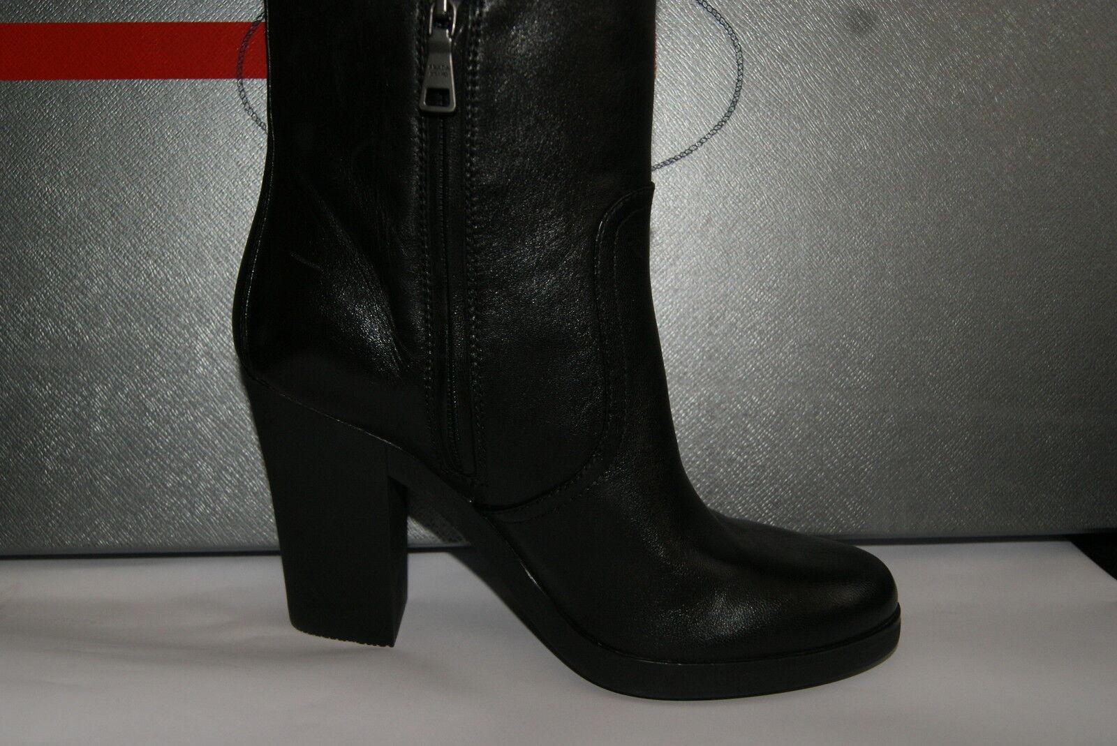 Orig. PRADA Stiefel Gr. 36 Leder Leder Leder schwarz Nappa NEU 36626c