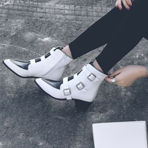 Ladies Buckle Strap Pointed Toe Ankle Boots Size Zipper Casual Block Heel Shoes