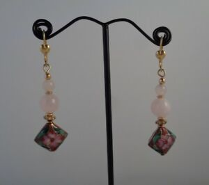 Pink-Floral-Earrings-Cloisonne-Jewelry-Rose-Quartz-Earrings-Free-Shipping