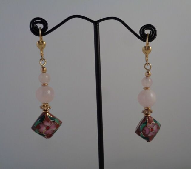 Pink Floral Earrings - Cloisonne Jewelry - Rose Quartz Earrings - Free Shipping!