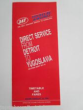 Yugoslav Airlines JAT Jugoslovenski Aerotransport 1988 Airline Timetable & fares