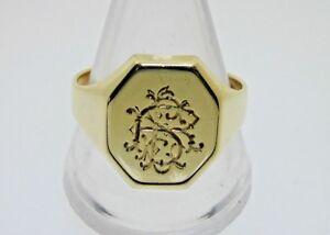 14-ct-Yellow-Gold-Vintage-Signet-Ring-size-V-1-2-Engraved-Initials-RLS-5-78-Gram
