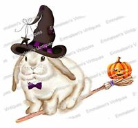 Vintage Image Halloween White Bunny Wearing Witch Hat Waterslide Decals An783