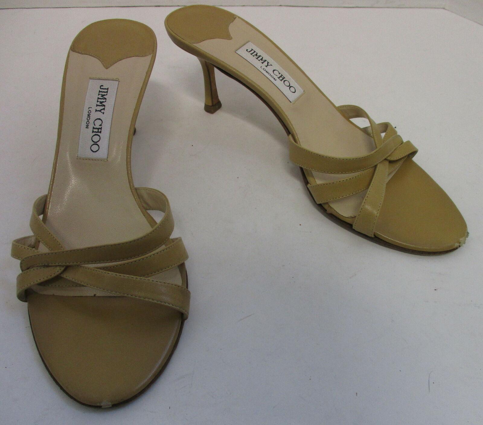JIMMY CHOO tan leather criss cross open toe slim heel slide sandals sz 39