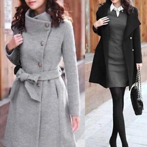 Womens Winter Warm Wool Lapel Trench Coat Parka Jacket Button Down Long Outwear