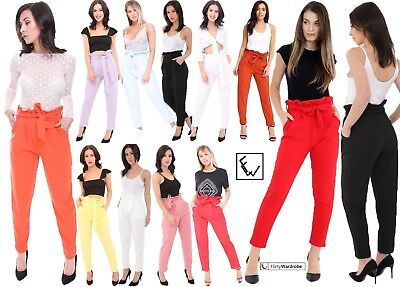 Womens Ladies Pleated Tie Waist Belted Wide Leg Paper Bag Trousers Size UK 8-14