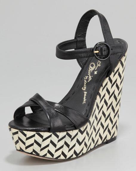 Nouveau Alice + Olivia Cuir Noir Sorell Wedge Sandal EUR 39.5 US 9.5