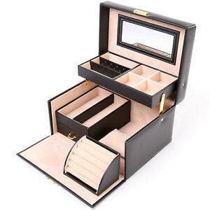 8aeae5c7015e La imagen se está cargando Joyero-Organizador-Caja-para-Almacenar-Joyas- Relojes-Pendientes-