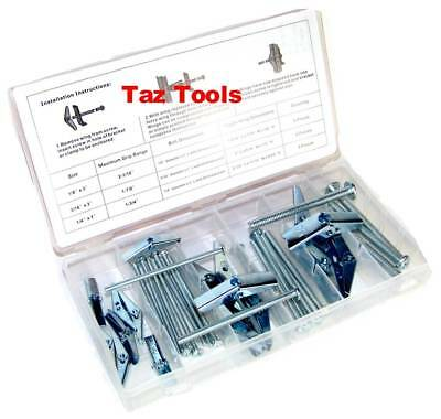 18pc Wing Toggle Bolt Assortment Snap Open Action Zinc Plated Drywall Walboard