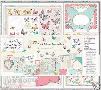 Docrafts BUTTERFLY DREAMS card making compendium Stickers decoupage stamps cards