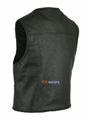 Cowhide Real Leather Biker Waistcoat Brass Fastening  Plaited Edging Vest Style