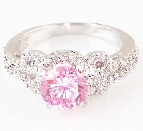 Lady//Women/'s argent 14KT OR Blanc Rose Saphir Bague de mariage cadeau taille 6-10 Zircone Cubique
